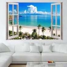 Fototapet Autoadeziv Fereastra Alba cu Vedere Catre Plaja Tropicala AMF1813
