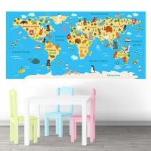 Fototapet Autoadeziv Harta Lumii pentru Copii NVV34