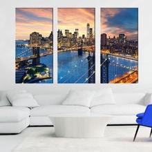Multicanvas Apus Fabulos peste Manhattan si Podul Brooklyn