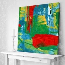 Tablou Abstract Verde si Rosu Armonios