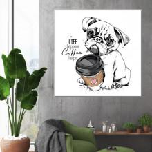 Tablou Canvas Buldog Francez La Cafea DGS15