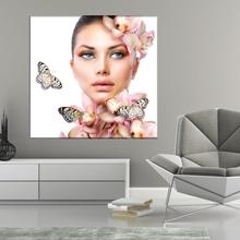Tablou Canvas Chip Femeie cu Orhidee si Fluturi FBA91
