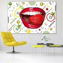 Tablou Canvas Dinti Albi cu Fructe Geometrice CSD14