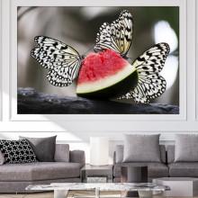 Tablou Canvas Fluturi pe Felie de Pepene Rosu CFB54