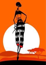 Tablou canvas orange fashion siluete 05