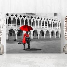 Tablou Cuplu cu Umbrela Rosie in Venetia IVE28