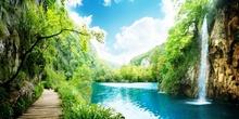 Tablou Drum prin padure cu cascada Croatia st69815