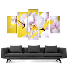 Multicanvas orhidee in fundal galben tfor01