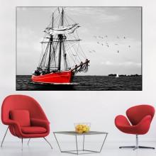 Tablou Barca Rosie cu Panze Albe TBB16
