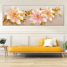 Tablou Bujori cu Frunze Aurii OPO36