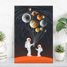 Tablou Canvas Astronaut cu Planete OUSA3