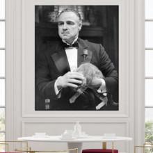 Tablou Canvas Don Corleone cu Pisica VR34
