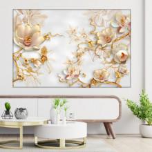 Tablou Canvas Flori Imperiale cu Frunze Aurii OPOS107