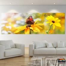 Tablou Canvas Fluture cu Flori Galbene FLD19
