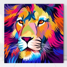 Tablou Canvas Leu Multicolor Stilizat ATGR126