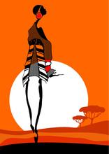 Tablou canvas orange fashion siluete 02