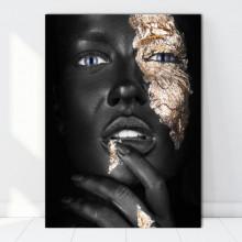 Tablou Canvas Portret Fashion Fata cu Pielea Neagra si cu Machiaj Auriu BGM65