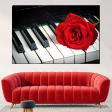 Tablou Canvas Trandafir Rosu pe Pian ROS54