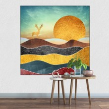 Tablou Decorativ Cerb in Peisaj Abstract de Munte TAM1