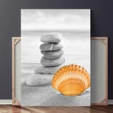 Tablou Pietre in Echilibru pe Nisip cu Cochilie OPO443