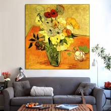 Tablou Van Gogh - Vaza Japoneza cu Trandafiri si Anemone