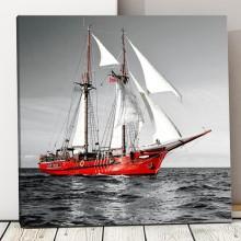 Tablou Barca Rosie cu Panze Albe bsa19