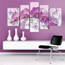 Multicanvas Orhidee cu Fluturi si Cercuri 3D OPOS25