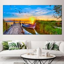 Tablou Canvas Ponton cu Barca de Pescari la Rasarit BFS18