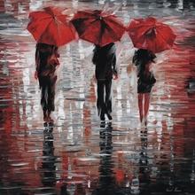 Reproducere Leonid Afremov - 3 umbrele rosii