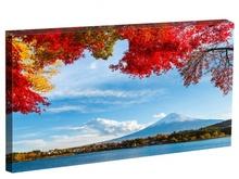Tablou artar rosu cu vedere spre muntele fuji din japonia st1546