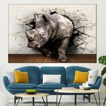Tablou Canvas 3D Rinocer ce Iese Prin Zid A3D3