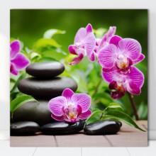 Tablou Canvas Pietre Vulcanice cu Orhidee, Concept SPA BDS16