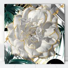 Tablou Canvas Trandafir Alb cu Fundal Tropical ROS53