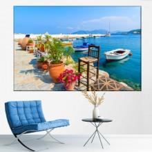 Tablou Peisaj Grecia, Ghivece cu Flori pe Faleza GRTV5