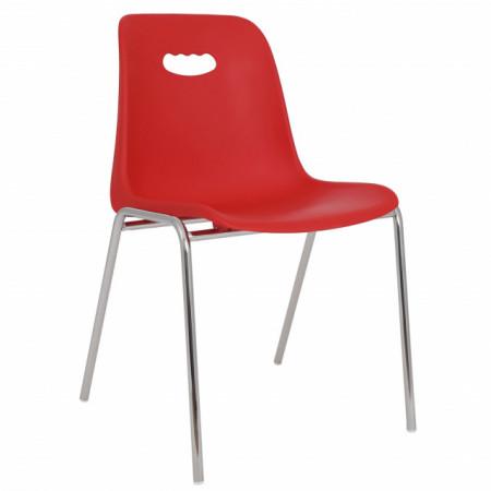 scaun plastic cromat rosu
