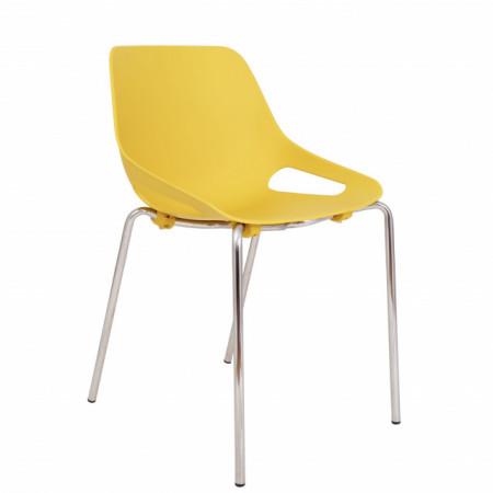 scaun cromat galben, scoica PP