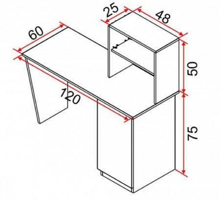 Birou de lucru cu rafturi si dulap, Mesteacan, Model 6026