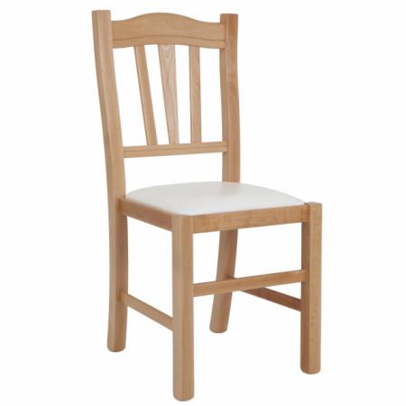 scaun lemn cadru natur piele crem