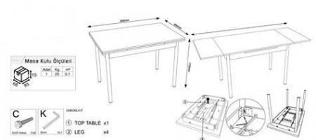 Masa Extensibila 65x90/142 Sonoma Model: 3072.01