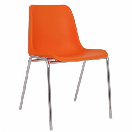 scaun plastic portocaliu cromat
