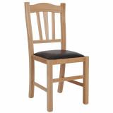 scaun lemn cadru natur piele maro