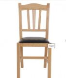 scaun lemn cadru natur piele negru