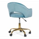 Scaun din catifea pentru birou cu baza aurie OFF 640 bleu