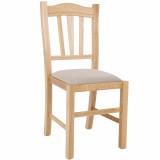 scaun lemn cadru natur piele alb