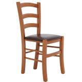 scaun lemn cires maro