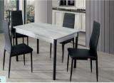 SET Masa Extensibila + 4 scaune cromate cappucino/Negru Model 3072SET