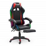 Scaun Gaming cu suport de picioare si LED RGB OFF 303 rosu cu negru
