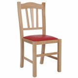 scaun lemn cadru natur piele rosie