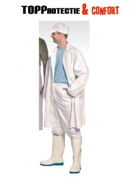 Halat tip medic cu nasturi, bumbac alb 100%