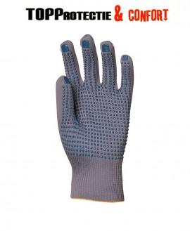Manusi protectie din fir nylon subtire cu picouri albastre antiderapante